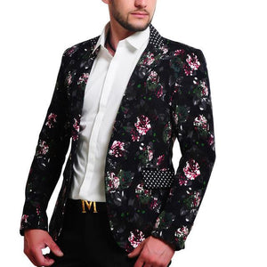 Mens  100% Cotton Flower Print Blazers - DealsBlast.com