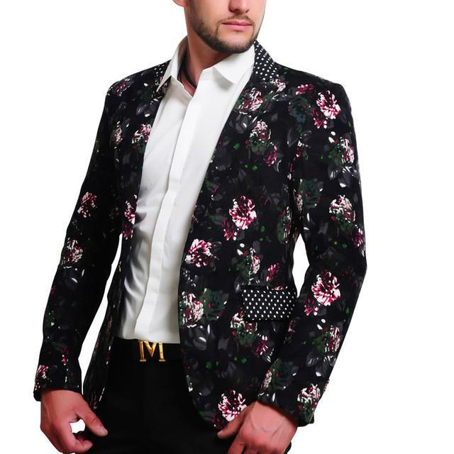 Mens  100% Cotton Flower Print Blazers
