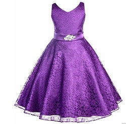 Multicolor girls party Full dress kids summer sleeveless lace girl princess wedding dress - DealsBlast.com