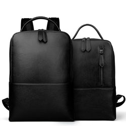 Genuine leather man bags really cowhide backpacks fashion solid double shoulder bag school Laptop bag