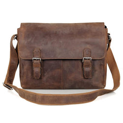 Man bag crazy horse leather shoulder Bag vintage genuine cowhide leather men messenger bags business crossbody male bags - DealsBlast.com