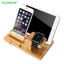 Universal Natural Bamboo Charging Dock Cradle Stand Detachable Phone Holder for iPhone Ipad Tablet for iWatch Desk - DealsBlast.com