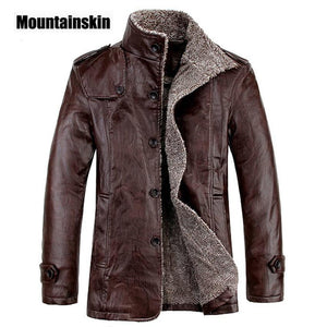 4XL Winter PU Leather Casual Jackets Men Thermal Coats Male Faux Leather Jackets Warm Brand Clothing