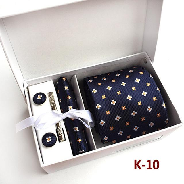 3.35 inch (8 Cm) Wide Ensemble Silver Paisley Man Tie, Handkerchief, Pin and Cufflinks Gift Box Packing Many Colors - DealsBlast.com