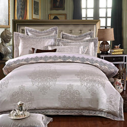 White Silver Color Jacquard Luxury Bedding sets 4/6 Pcs Queen/King size lace cotton Stain Bed set  Bed linen Duvet cover pillow - DealsBlast.com