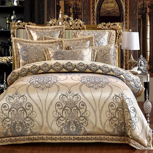 White Silver Color Jacquard Luxury Bedding Sets 4 6 Pcs Queen King Siz