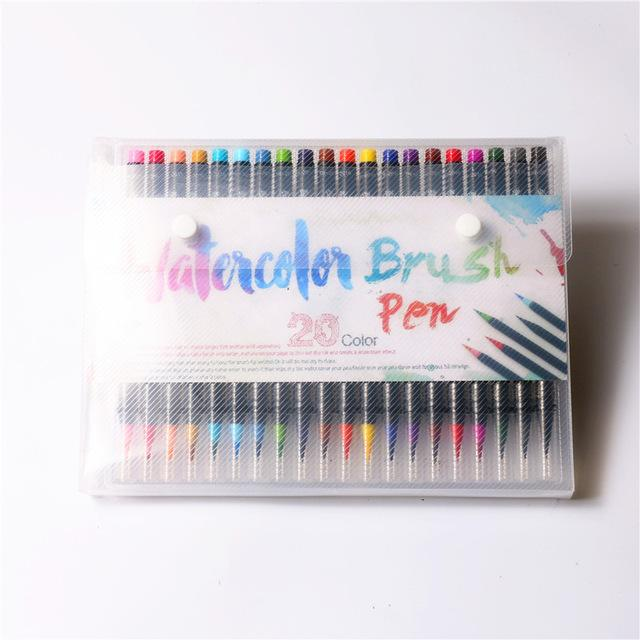 20 Color Premium Painting Soft Brush Pen Set Watercolor Art Markers - DealsBlast.com