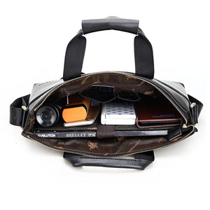 Business briefcase leather handbag tote luxury brand shoulder bag men top-handle messenger crossbody work bag black - DealsBlast.com