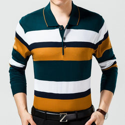 Casual Long Sleeve Business Mens Striped T-shirts - DealsBlast.com
