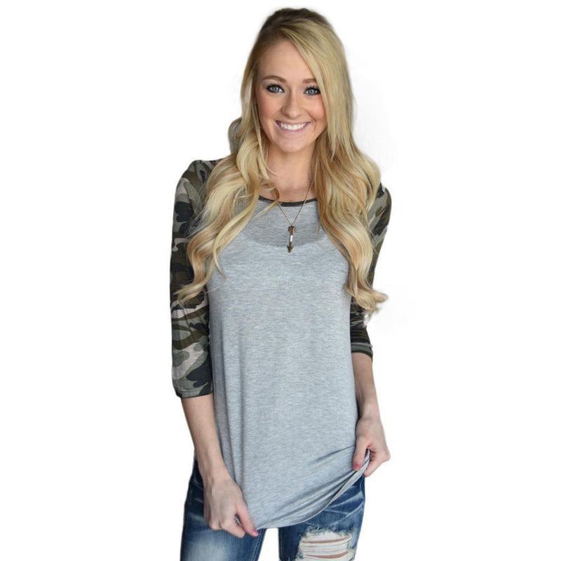 Casual Women Camouflage Print O Neck Sweatshirt - DealsBlast.com