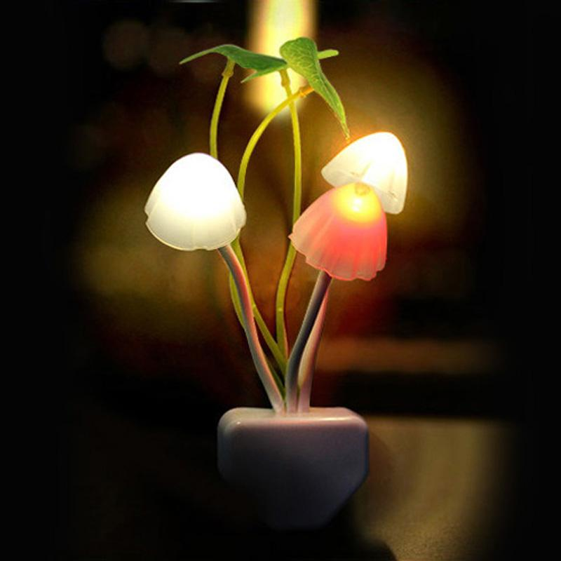 Novelty Mushroom Fungus Night Light EU & US Plug Light Sensor 220V 3 LED Colorful Mushroom Lamp Led Night Lights - DealsBlast.com