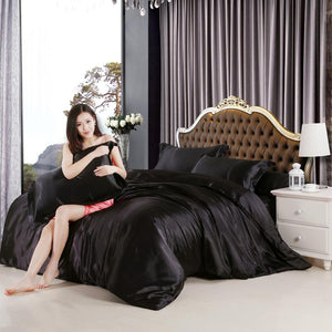 Silk feel satin solid black white purple bedding set single queen size king duvet cover set bedclothes bed sheet set - DealsBlast.com