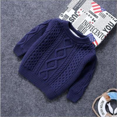 Baby Clothes O-Neck Warm Sweater Children Toddler Kids Pullovers plush velvet inside Winter Autumn Knit Loose Top for 1-15 years - DealsBlast.com