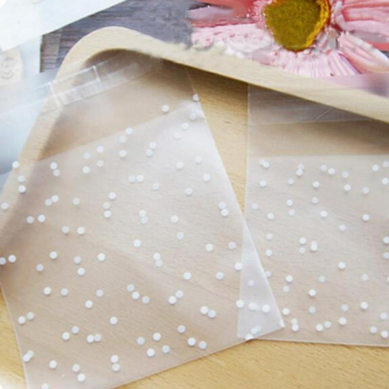 100pcs White Dots Transparent Frosted Plastic Gift Bag - DealsBlast.com