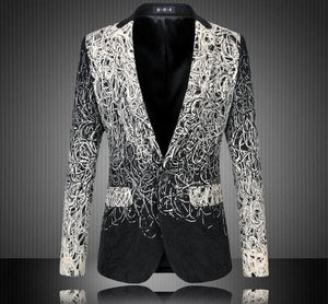 Men Floral Suit Personality Casual Blazer - DealsBlast.com