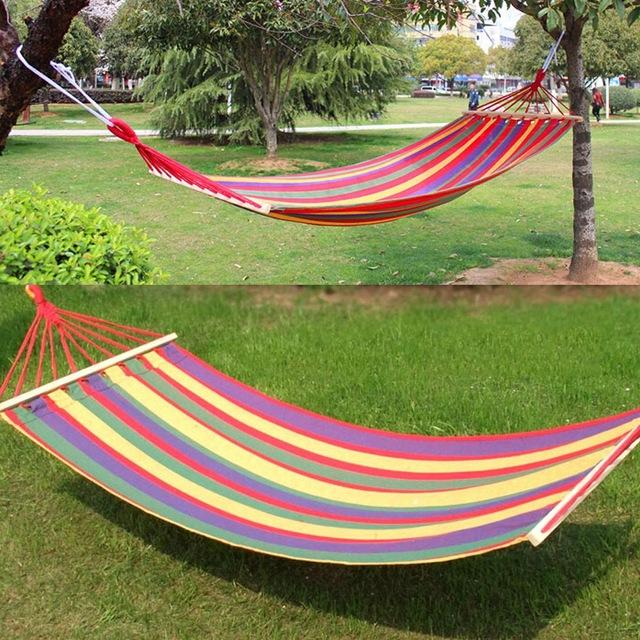 200x 80 cm Prevent Rollover Hammock Double Spreader Canvas Hammocks Bar Garden Camping Swing Hanging Bed Blue Red - DealsBlast.com