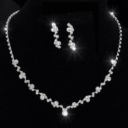 Silver Tone Crystal Tennis Choker Necklace Set Earrings bridal jewelry Wedding Bridesmaid African Jewelry Sets jewelry sets - DealsBlast.com