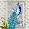 32*45cm 5D Diamond Embroidery DIY Beautiful Blue Peacock Pictures Canvas - DealsBlast.com
