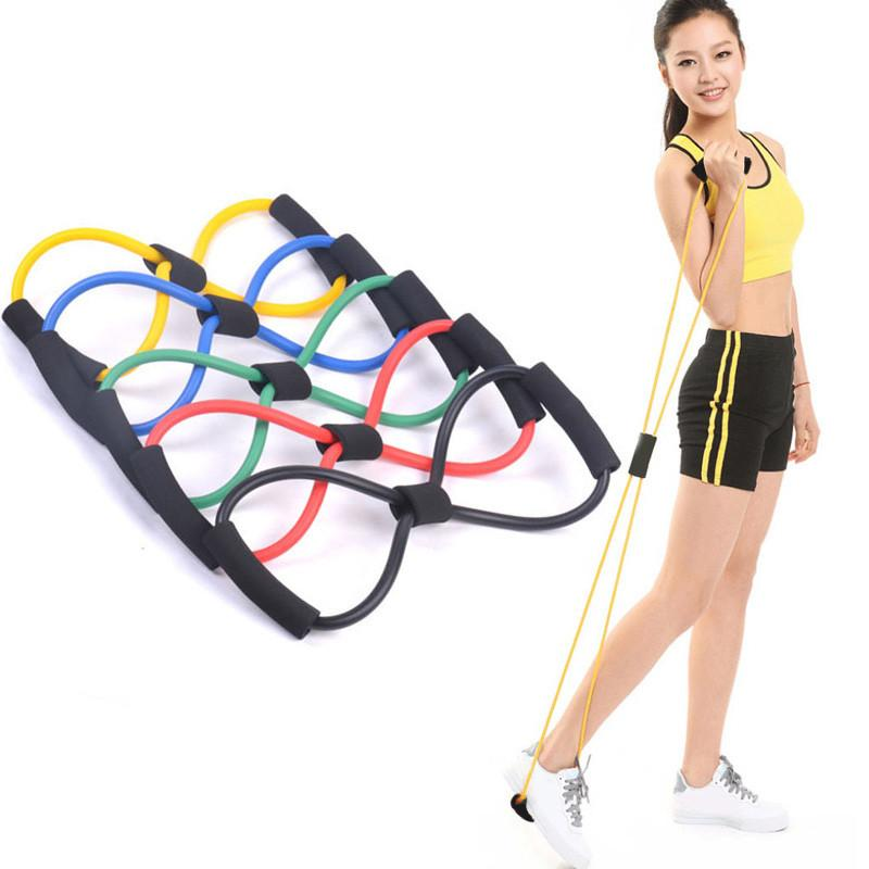 1pcs 8 Shaped Elastic Tension  Rope Chest Expander Yoga Pilates Sport Fitness Belt Body Shape Health Care Random Color - DealsBlast.com