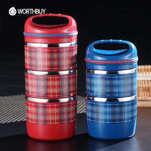 Stainless Steel Thermal Bento Box Portable Fruit Food Containers Sealed Striped Lunch Boxs For Kids Picnic Set