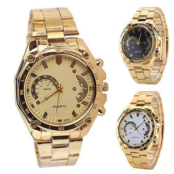 New Arrival Women  Men  Golden Color Stainless Steel Band Analog Quartz Sport Wrist Watch - DealsBlast.com