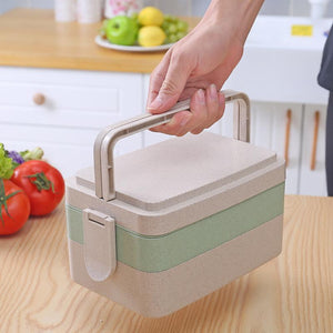 Portable Bento Lunch Boxs Three layer Food Container Microwavable Bento Box With Handle For Kids School Outdoor Picnic - DealsBlast.com