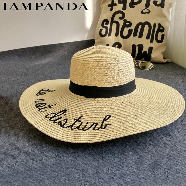 3c36935859cd7e Letter embroidery cap Big brim Ladies summer straw hat youth hats for women  Shade sun hats