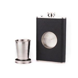 Creative 8 Oz Folding Cup Stainless Steel Hip Flask Faux Leather Whiskey Wine Bottle Retro Alcohol Pocket Flagon - DealsBlast.com