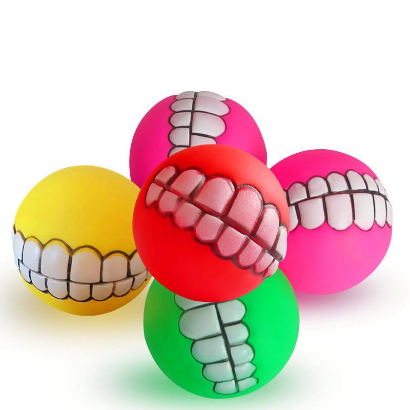 8CM Funny Ball For Dogs - Teeth Silicon Toy - DealsBlast.com