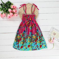 Summer Bohemian Beach Girls Dress With Beading Necklace Sundress Floral Sling Dress For Girl - DealsBlast.com