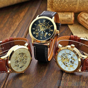 Mens Roman Numerals Stainless Steel Mechanical Skeleton Hollow Sport Wrist Watch - DealsBlast.com