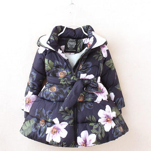 Winter jackets for girls fashion floral printed girls jackets parka coats thick fleece warm children girls jackets - DealsBlast.com