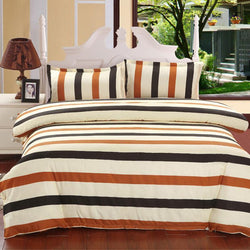 Excellent 4pcs Stripe Rainbow Bedding Set includes Bed Sheets Duvet Cover Flat Bedspread - Deals Blast