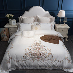 Oriental Embroidery Luxury Royal Bedding set Egypt Cotton King Queen Size 4/7pcs White Wedding Bed set Duvet cover bedsheet