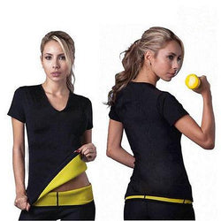 Women Slimming Waist Slim Fitness Yoga T-shirt Shapewear Top Running T-Shirts - DealsBlast.com