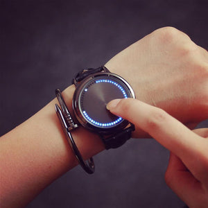Creative personality leather strap LED watch normal women men electronics wristwatch casual student clock couple hour - DealsBlast.com