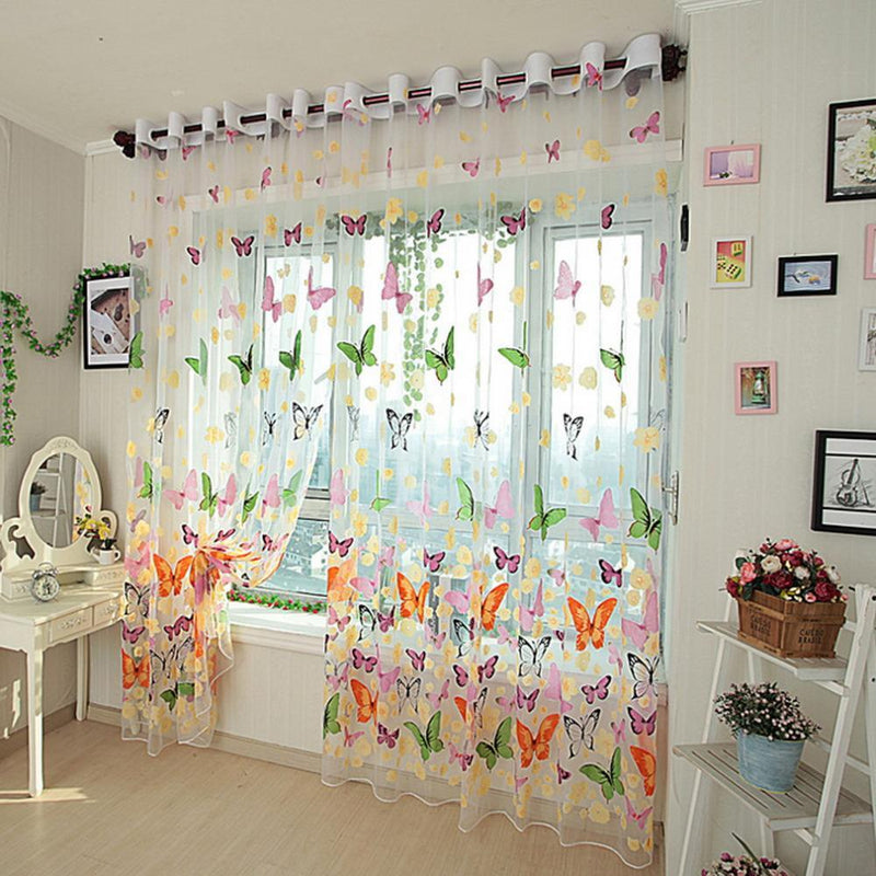100*200cm Pretty Butterfly Yarn Print Sheer Window Door Panel Sheer Curtains Room Divider Tulle Scarf Balcony Screens - DealsBlast.com