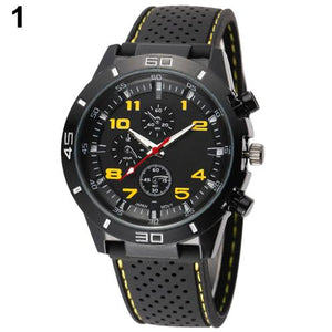 Popular Outdoor Design Men's Fashion Black Silicone Strap Stainless Steel Analog Sport Quartz Wrist Watch - DealsBlast.com
