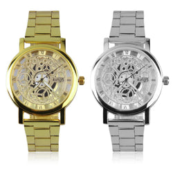 Men's Wrist Watch Fashion Metal Band Stainless Steel Hollow Pattern Dial Design Quartz Luxury Watches - DealsBlast.com