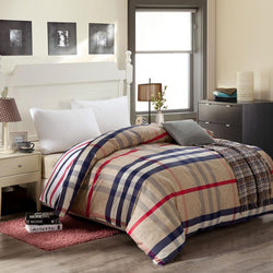 Home Textile Brand Logo 100% Combed Cotton Quilt Cover Best Quality 1PCS Family Bedclothes Plaid Pattern Printed Duvet Cover - DealsBlast.com
