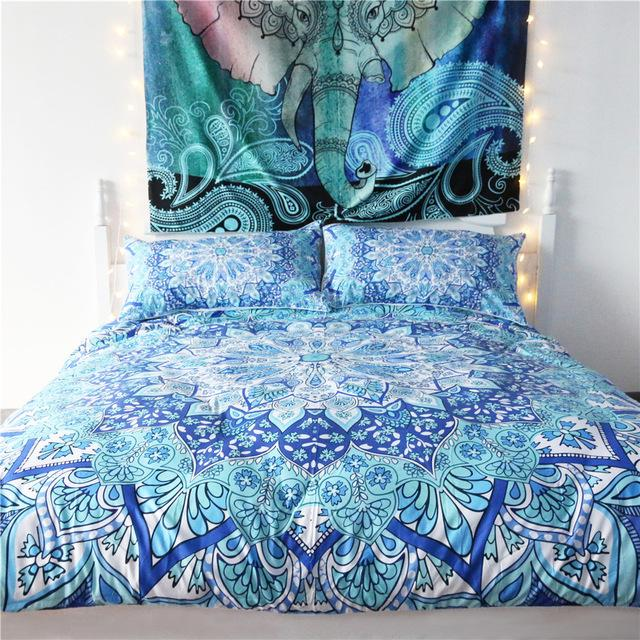 European and American Style Bohemian Flowers Bedding Set 3pcs Mandala Bed Linen Home Textile Bedclothes Duvet Cover Pillowcases - DealsBlast.com