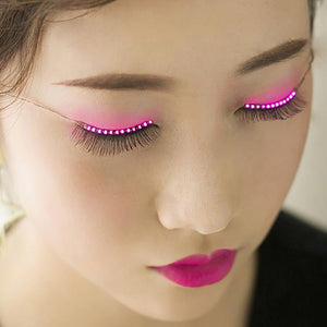 LED Light False Eyelashes Long Eyelashes Makeup False Eyelashes Black Nautral Handmade Eye Lashes Extension Party Bar Halloween - DealsBlast.com