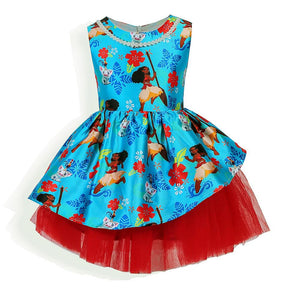 New Moana movie Cartoon girl dress Kids princess lace shirt dress moana cosplay costume 2-7 Year