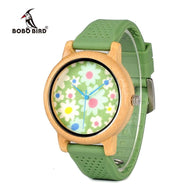 Fashion Bamboo Watch with Fabric Dial Ladies' Wood Watches With Soft Silicone Straps Quartz Watch With Box