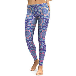 Women Autumn Fresh Lotus Printing Legging Fitness Trousers - DealsBlast.com