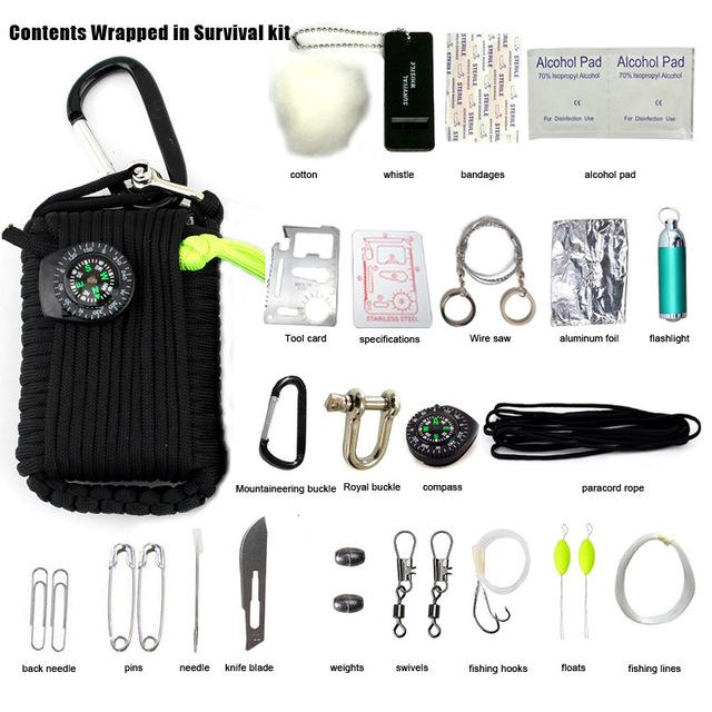 29 in 1 New SOS Survival Outdoor EDC Paracord Survival Kit Emergency EDC Gear for Camping Hunting Green Useful Hunting Tools - DealsBlast.com