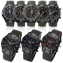 Casual Outdoor Mens Sports Watches Silicone Band Stainless Steel Analog Quartz Wrist Watch Clock - DealsBlast.com