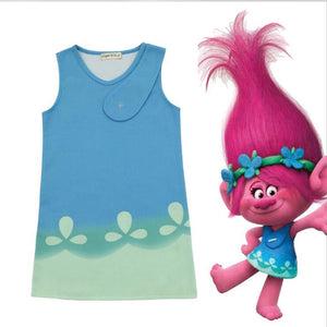 New Cartoon Trolls girl dress Kids princess shirt trolls cosplay costume 3-8 Year