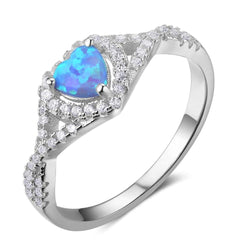 925 Sterling Silver Rings Heart Blue Opal Stone Engagement Rings Wedding Bands Women Jewelery Gifts - DealsBlast.com