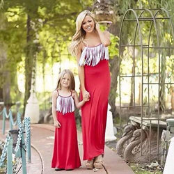 Mother Daughter Dresses Family Matching Outfits Red Mother Daughter Matching Dress - DealsBlast.com